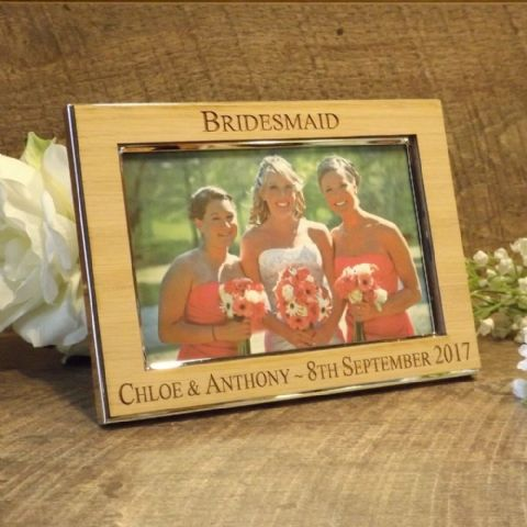 Personalised Bridesmaid Maid of Honour Photo Frame Oak Wood Veneer (ls)